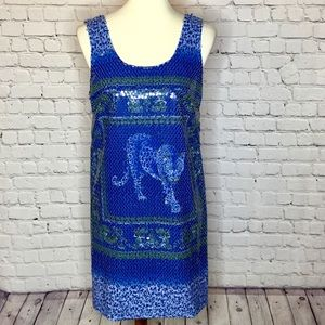 VERSACE TIGER BLUE SEQUIN SHIFT DRESS